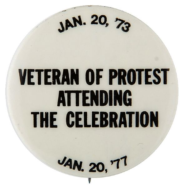 BUTTON LINKS NIXON 1973 INAUGURAL PROTEST WITH CARTER 1977 CELEBRATION.