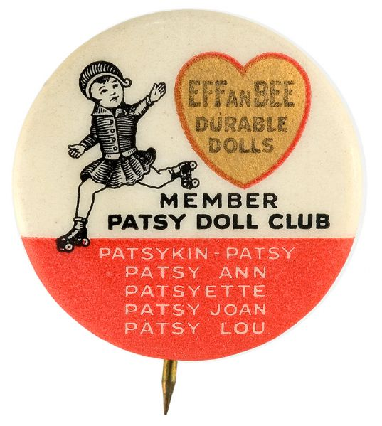 EFFANBEE DURABLE DOLLS - MEMBER PATSY DOLL CLUB CLASSIC 1930s BUTTON.