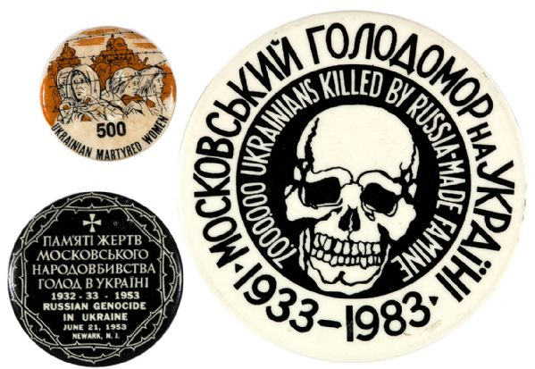 UKRAINIAN GENOCIDE ANTI-RUSSIA BUTTONS.