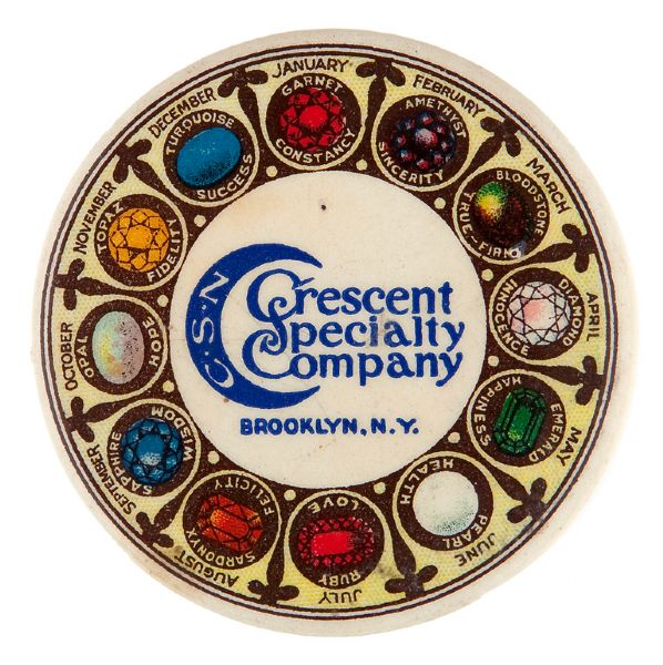 CRESCENT SPECIALTY COMPANY BROOKLYN, N.Y. SELF PROMOTION BIRTHSTONE MIRROR.