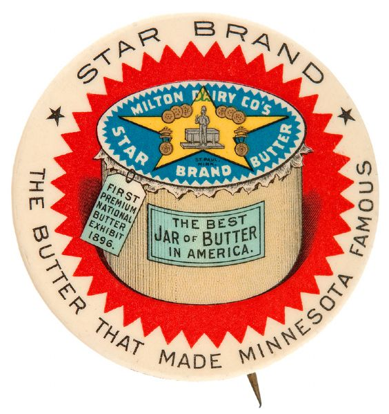 STAR BRAND BUTTER EARLY AND LARGE GRAPHIC BUTTON.