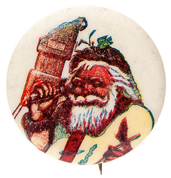 SANTA ON WALL-MOUNT TELEPHONE SAMPLE BUTTON.