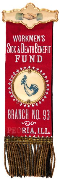 """WORKMAN'S SICK & DEATH BENEFIT FUND EARLY RIBBON BADGE WITH CELLULOID."