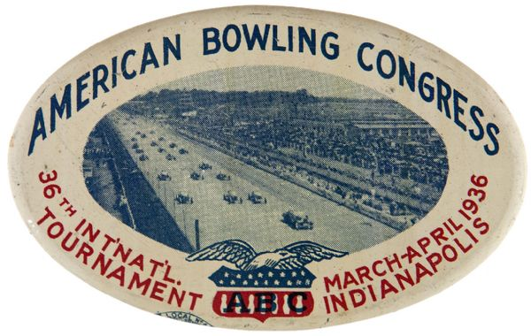 INDIANAPOLIS RACE PHOTO ON 1936 AMERICAN BOWLING CONGRESS TOURNAMENT BUTTON.