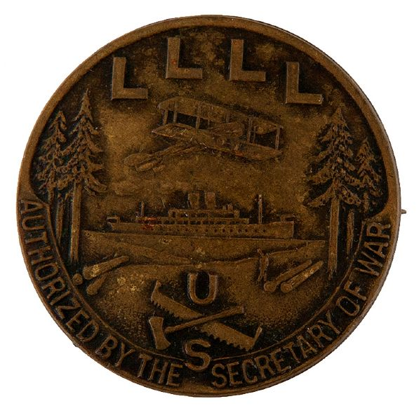 LOGGING AND AVIATION WORLD WAR I BRASS BUTTON.
