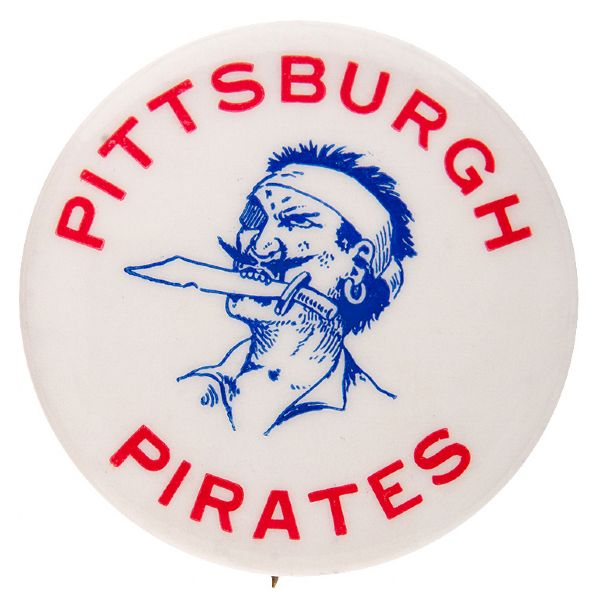 """PITTSBURGH PIRATES"" BASEBALL BUTTON WITH GREASE PENCIL NOTATION."