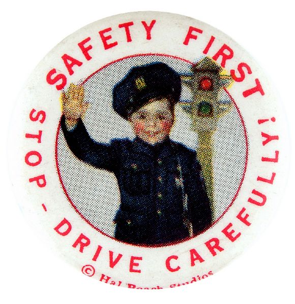 SPANKY OF OUR GANG AS POLICEMAN 1930s SAFETY BUTTON.