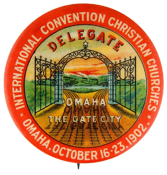 GORGEOUS DELEGATE BUTTON FOR CHRISTIAN CONVENTION 1902.