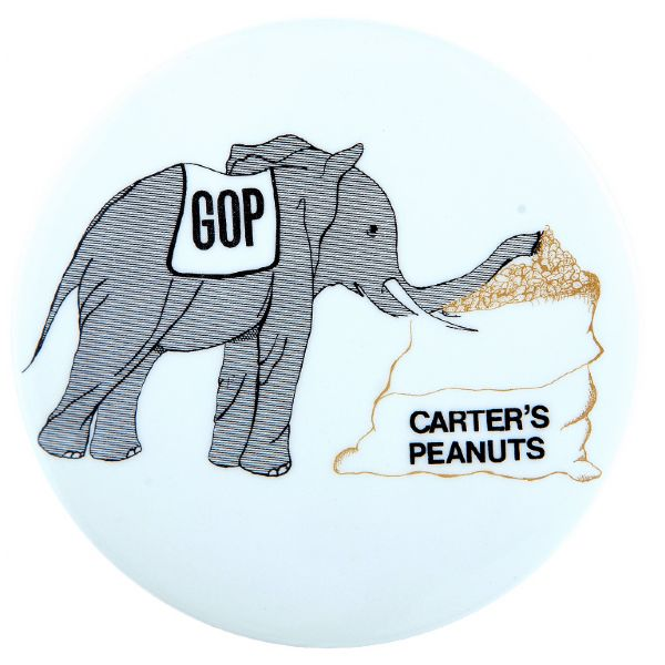 GOP ELEPHANT SUCKS UP CARTER'S PEANUTS 1976 SCARCE CARTOON CAMPAIGN BUTTON.