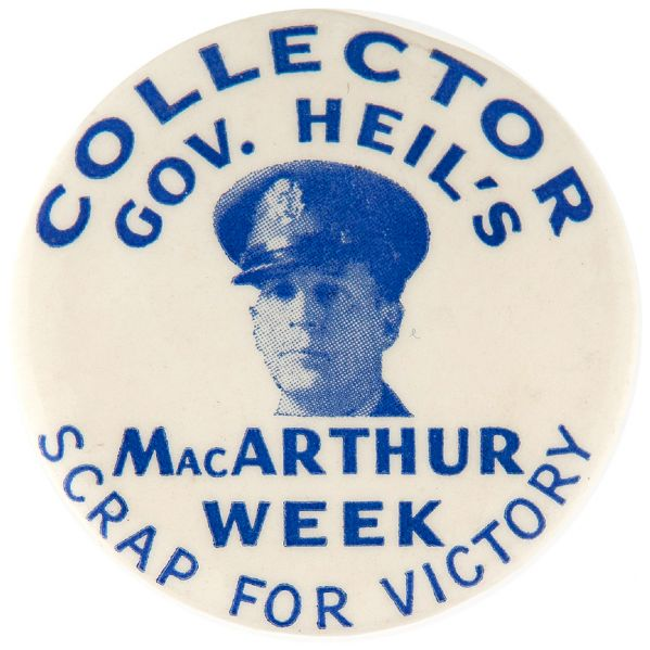 "GENERAL MacARTHUR RARE ""SCRAP FOR VICTORY"" BUTTON."