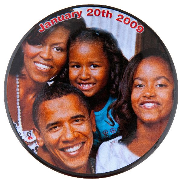 "OBAMA FAMILY ""JANUARY 20TH 2009"" NUMBERED #67 OF 100 MADE INAUGURATION BUTTON."