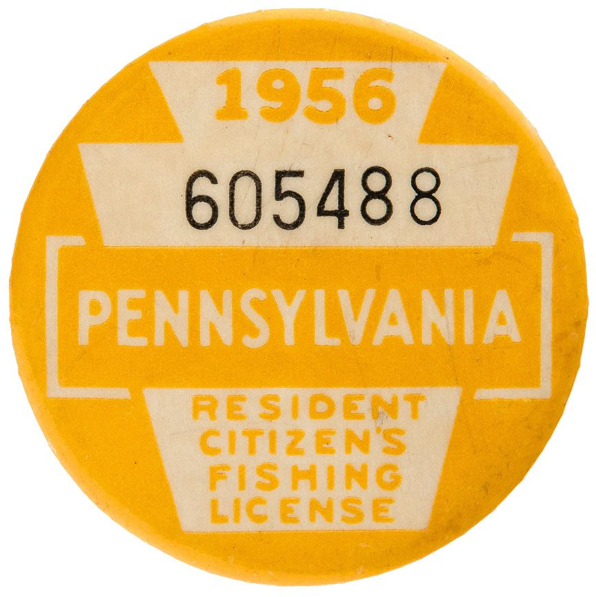 Item detail pennsylvania 1956 resident citizens fishing for Pa fishing license prices