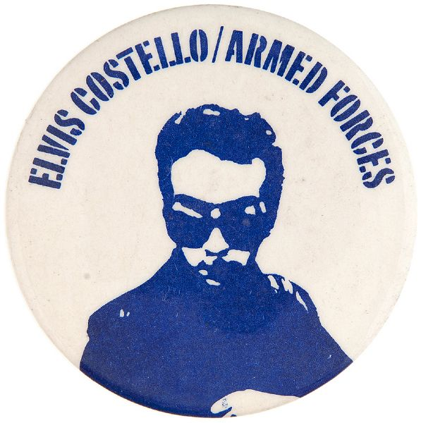 """ELVIS COSTELLO/ARMED FORCES"" MUSIC ALBUM PROMO BUTTON."