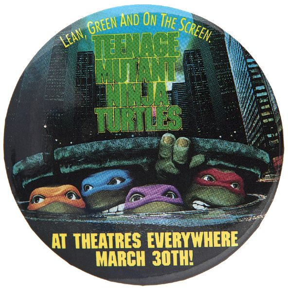 """TEENAGE MUTANT NINJA TURTLES"" SCARCE 1990 LICENSED PROMOTIOM MOVIE BUTTON."