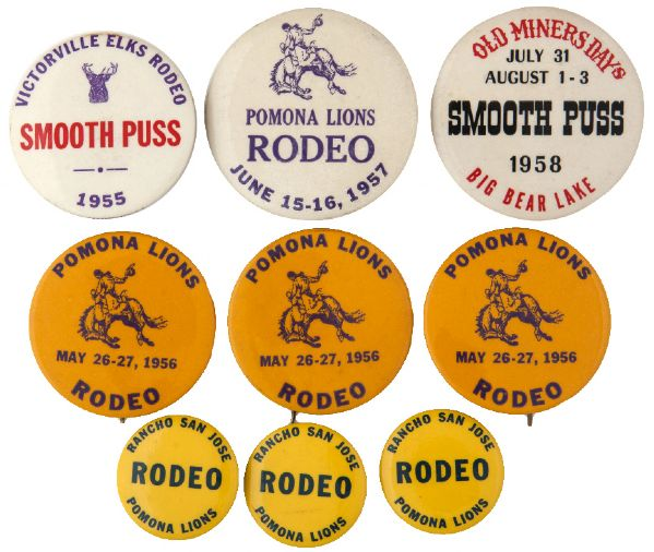 CALIFORNIA 1950s RODEO BUTTONS 4 DIFFERENT, 4 DUPLICATES, PLUS OLD MINER'S DAYS BIG BEAR LAKE.