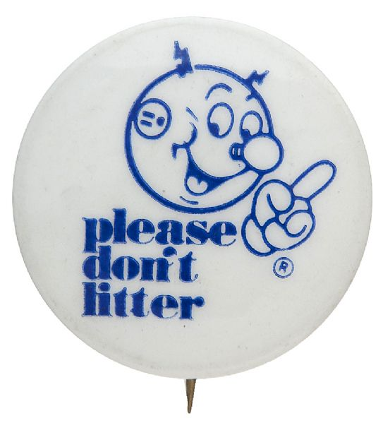 """PLEASE DON'T LITTER"" RARE 1971 REDDY KILOWATT BUTTON."