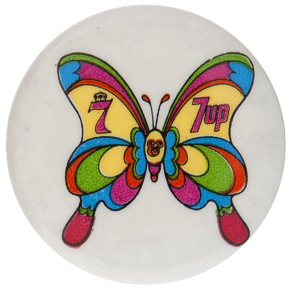 """7-UP"" AND ""SEAGRAM'S 7"" MOD ERA BUTTERFLY ADVERTISING BUTTON."