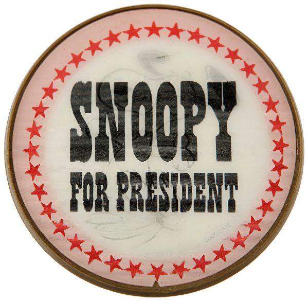 PEANUTS CHARACTER FLICKER CAMPAIGN BUTTON SNOOPY FOR PRESIDENT.