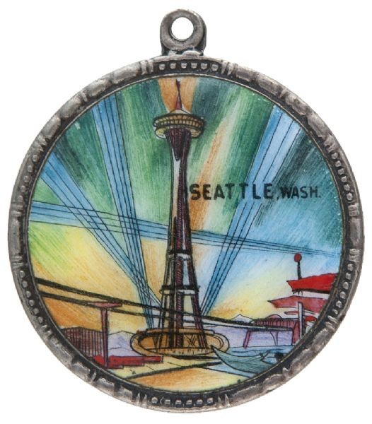 """SEATTLE"" EXPO SUPERB 1961 ENAMEL SHOWS SPACE NEEDLE ON GERMAN MADE SILVER PLATED FRAME."