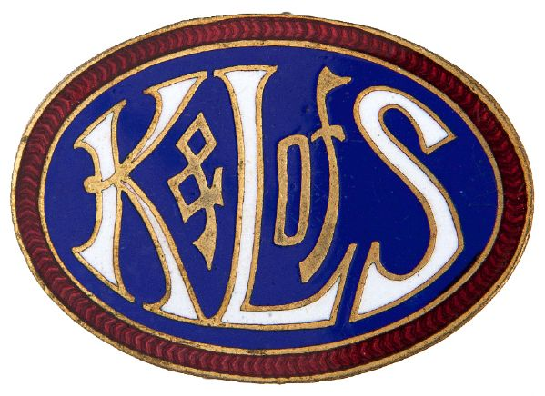"""K&L OF S"" KNIGHTS AND LADIES OF SECURITY MUTUAL BENEFIT ASSOCIATION / LIFE INSURANCE ENAMEL BADGE."