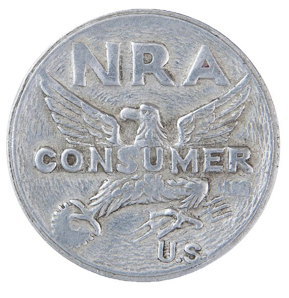 """NRA COMSUMER"" NYC CAST ALUMINUM TOKEN."