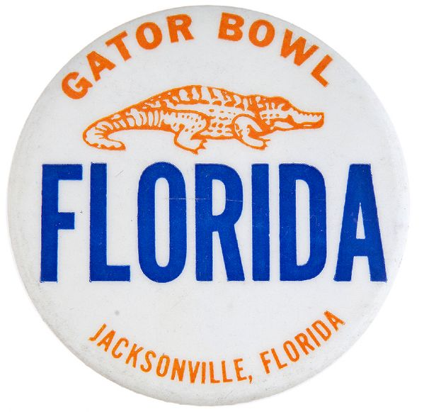 """FLORIDA GATOR BOWL / JACKSONVILLE, FLORIDA"" FOOTBALL BUTTON."