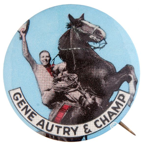 """GENE AUTRY & CHAMP"" LATE 1940s SCARCE BACKGROUND COLOR BUTTON."