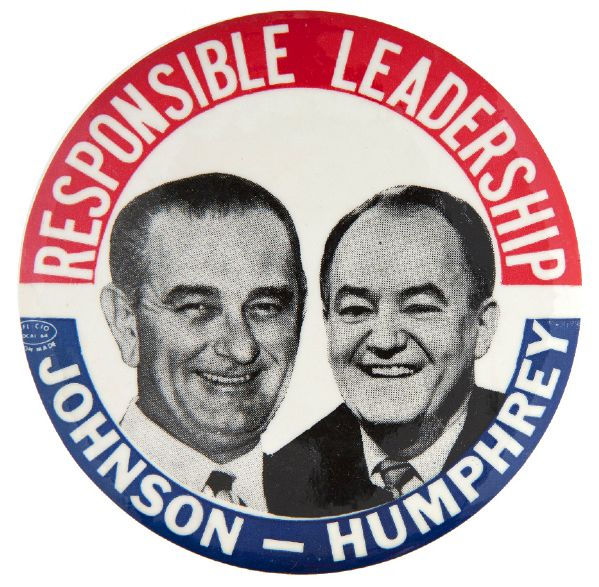 """RESPONSIBLE LEADERSHIP / JOHNSON - HUMPHREY"" 1964 HAKE GUIDE #2009 JUGATE BUTTON."