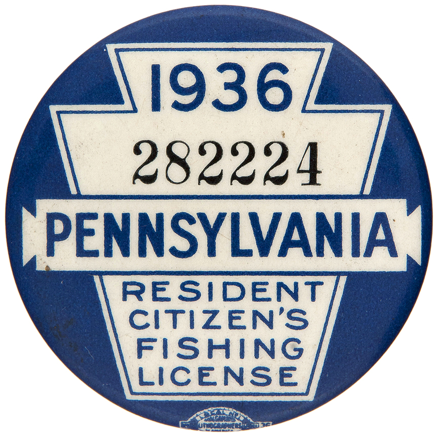 Item detail 1936 pennsylvania resident citizen s for Pa fishing license online