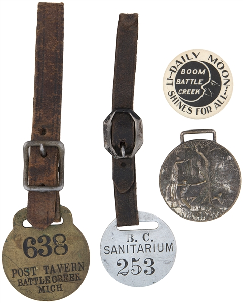 BATTLE CREEK MICHIGAN FOBS AND BUTTON FROM EARLY 1900s.