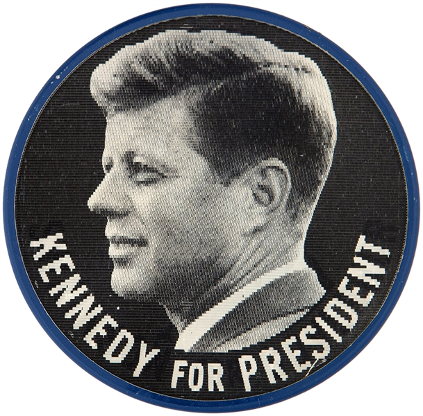 VARI-VUE FLASHER FROM 1960 READS KENNEDY FOR PRESIDENT/SWAINSON FOR GOVERNOR.