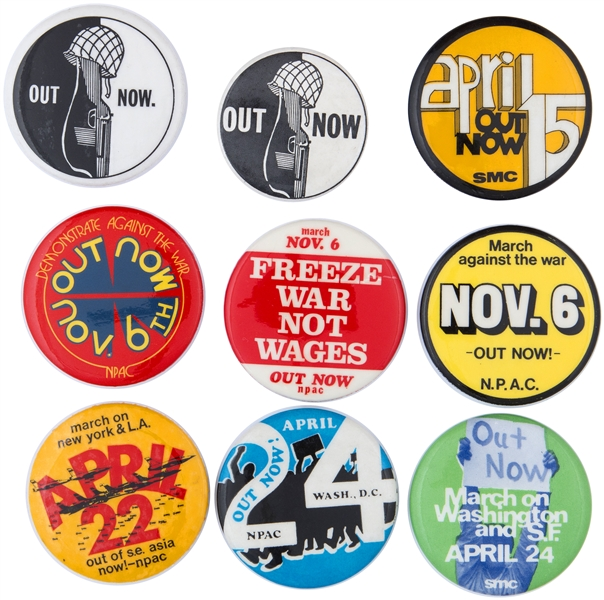 NINE VIETNAM WAR PROTEST BUTTONS FROM 1960s AND EARLY 70s.