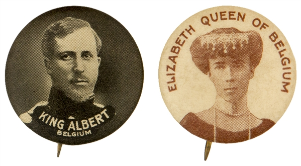 """KING ALBERT"" / ""ELIZABETH QUEEN OF BELGIUM"" KING AND QUEEN OF BELGIUM BUTTON PAIR."