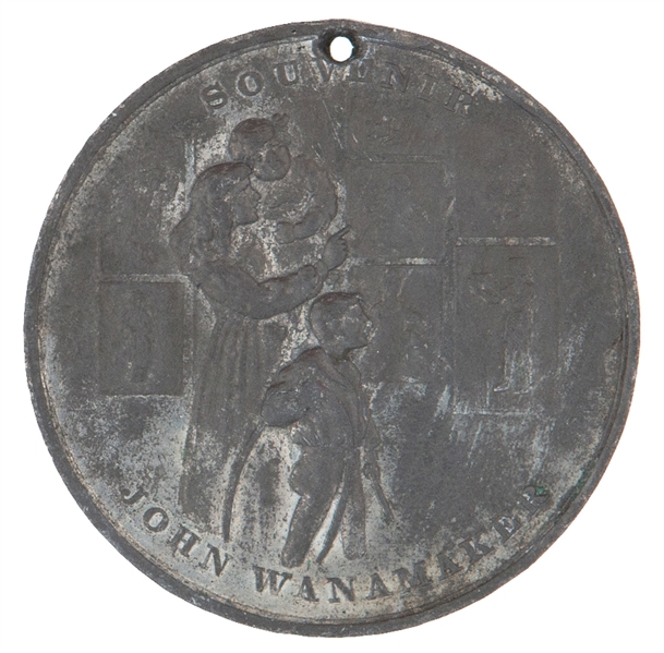 """SOUVENIER OF THE CHILDREN'S CHRISTMAS DRAWING COMPETITION 1903 JOHN WANAMAKER PHILADELPHIA NEW YORK PARIS"" WHITE METAL TOKEN."