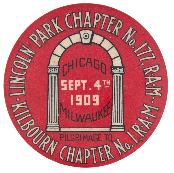GRAPHIC 1909 CHICAGO TO MILWAUKEE LODGE BUTTON.