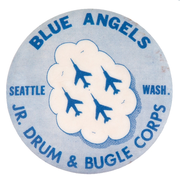 """BLUE ANGELS JR. DRUM & BUGLE CORPS SEATTLE WASHINGTON"" AIR FORCE FLYING TEAM PROMOTIONAL BUTTON."