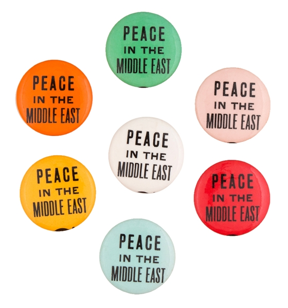 "ISRAEL / ARAB WAR ""PEACE IN THE MIDDLE EAST"" 7 COLOR VARIETY BUTTONS CIRCA 1967."