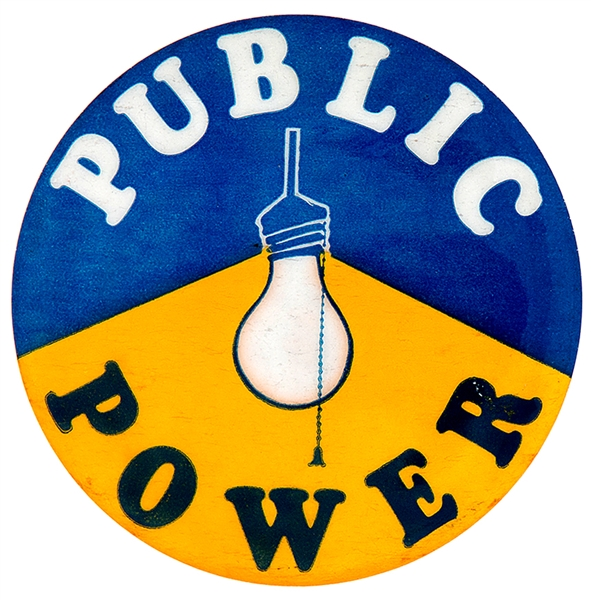 """PUBLIC POWER"" WITH LIGHT BULB GRAPHIC BUTTON."