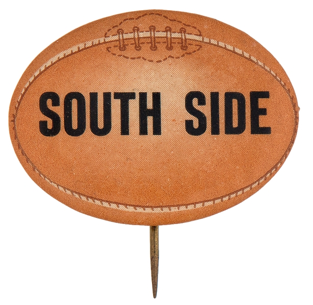 """SOUTH SIDE"" 1930s FOOTBALL DESIGN FIGURAL BUTTON."