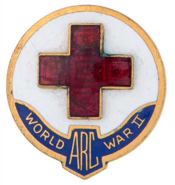 """WORLD WAR II / ARC"" AMERICAN RED CROSS"" OFFICIAL ENAMELED BRASS PIN."