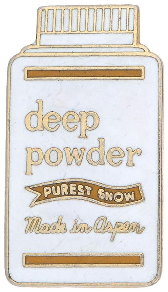 "ASPEN SKI PROMO ""DEEP POWDER / PUREST SNOW / MADE IN ASPEN"" ENAMEL ON BRASS PIN."