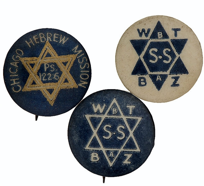 JEWISH STAR OF DAVID BUTTON TRIO FROM 1920s CHICAGO.