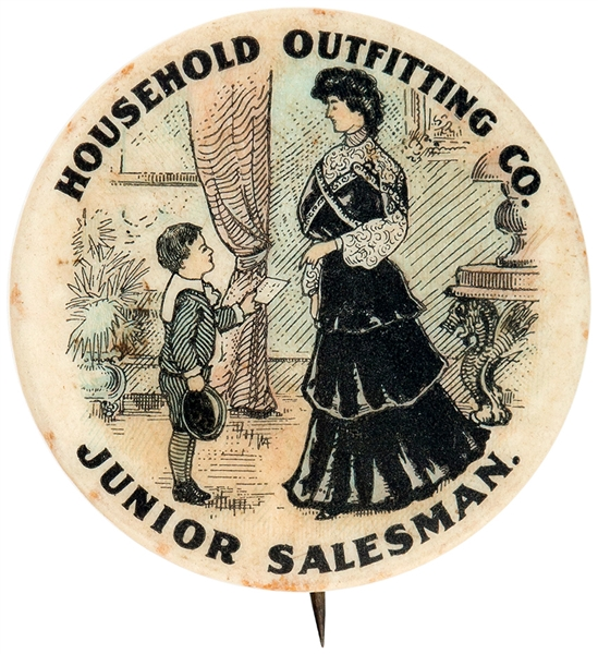 HOUSEHOLD OUTFITTING CO. JUNIOR SALESMAN AD BUTTON.