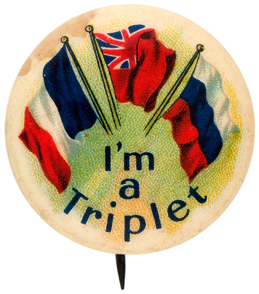 I'M A TRIPLET THREE FLAGS CANADIAN PATRIOTIC BUTTON.