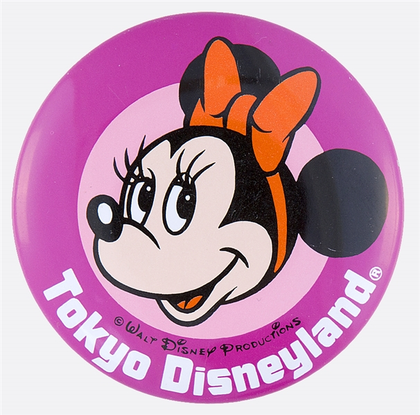 DISNEYLAND WITH MINNIE MOUSE OFFICIAL DISNEY LITHO BUTTON.