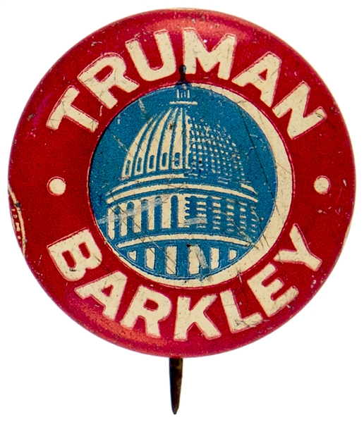 TRUMAN BARKLEY WITH CAPITOL DOME GRAPHIC LITHO BUTTON.