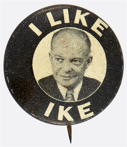 I LIKE IKE SCARCE 1952 EISENHOWER LITHO PORTRAIT BUTTON.