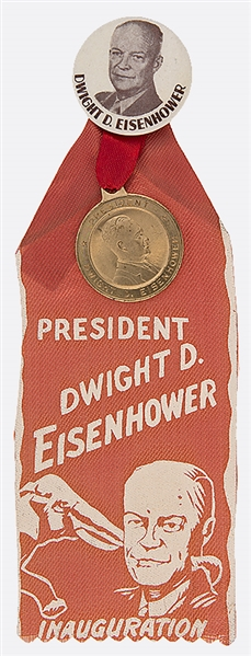 DWIGHT D. EISENHOWER 1953 INAUGURAL BUTTON, MEDALLION AND RIBBON.