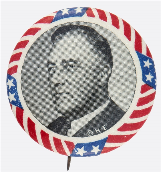 FRANKLIN ROOSEVELT 1932 PORTRAIT PRESIDENTIAL CAMPAIGN BUTTON WITH STARS AND STRIPS BORDER.