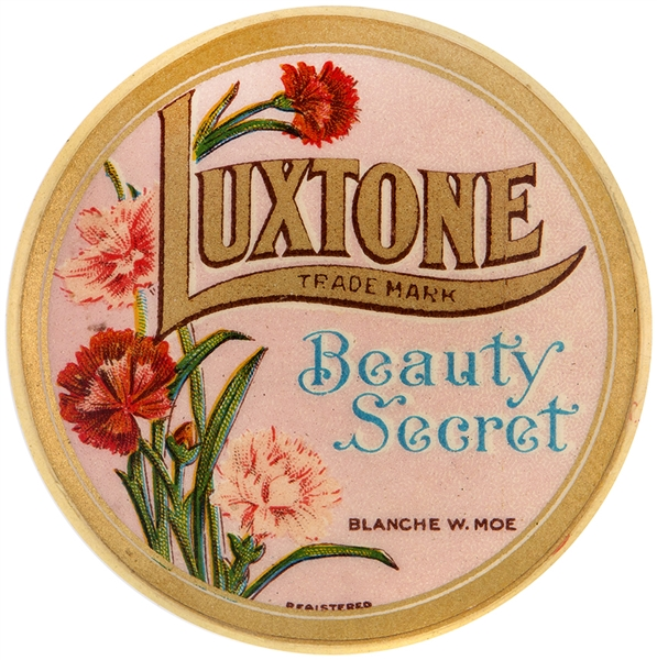 LUXTONE BEAUTY SECRET 1930s ADVERTISING COSMETIC MIRROR.